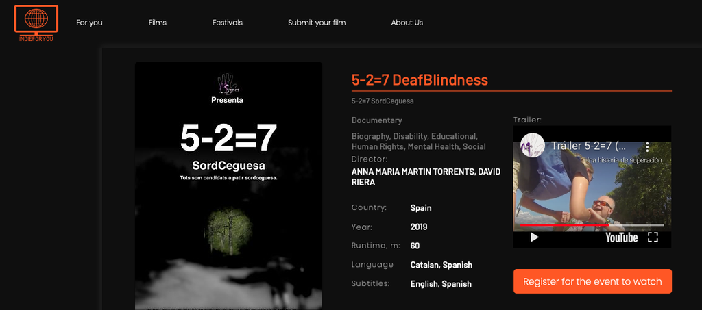 "The Documentary ""5-2=7 Deafblindness"" At The Master Doc Film Festival"