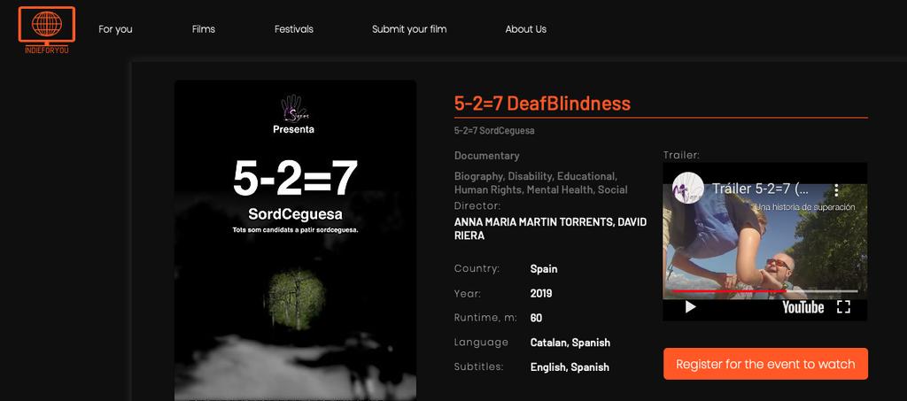 "El Documental ""5-2=7 Sordceguesa"" Al Master Doc Film Festival"