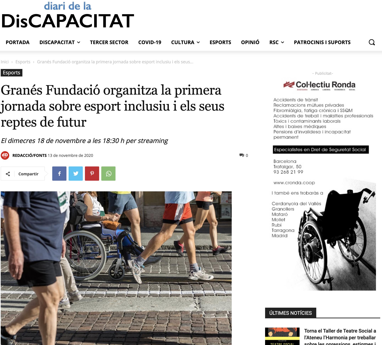 Granés Fundació Organitza La Primera Jornada Sobre Esport Inclusiu I Els Seus Reptes De Futur – Diari De La DisCAPACITAT