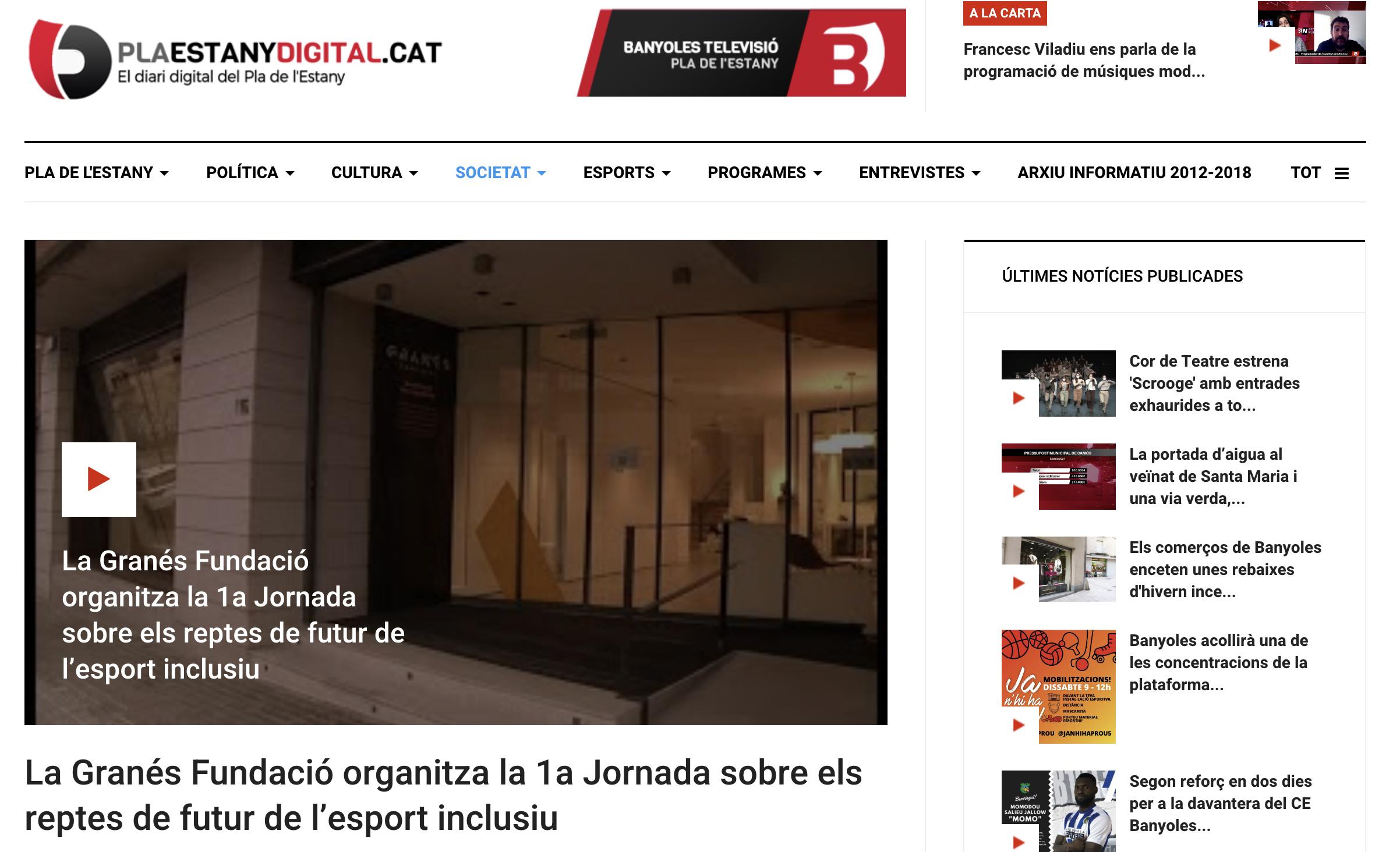 La Granés Fundació Organitza La 1a Jornada Sobre Els Reptes De Futur De L'esport Inclusiu – Pla Estany Digita.cat
