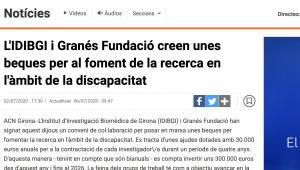 L'IDIBGI I Granés Fundació Creen Unes Beques Per Al Foment De La Recerca En L'àmbit De La Discapacitat – 324