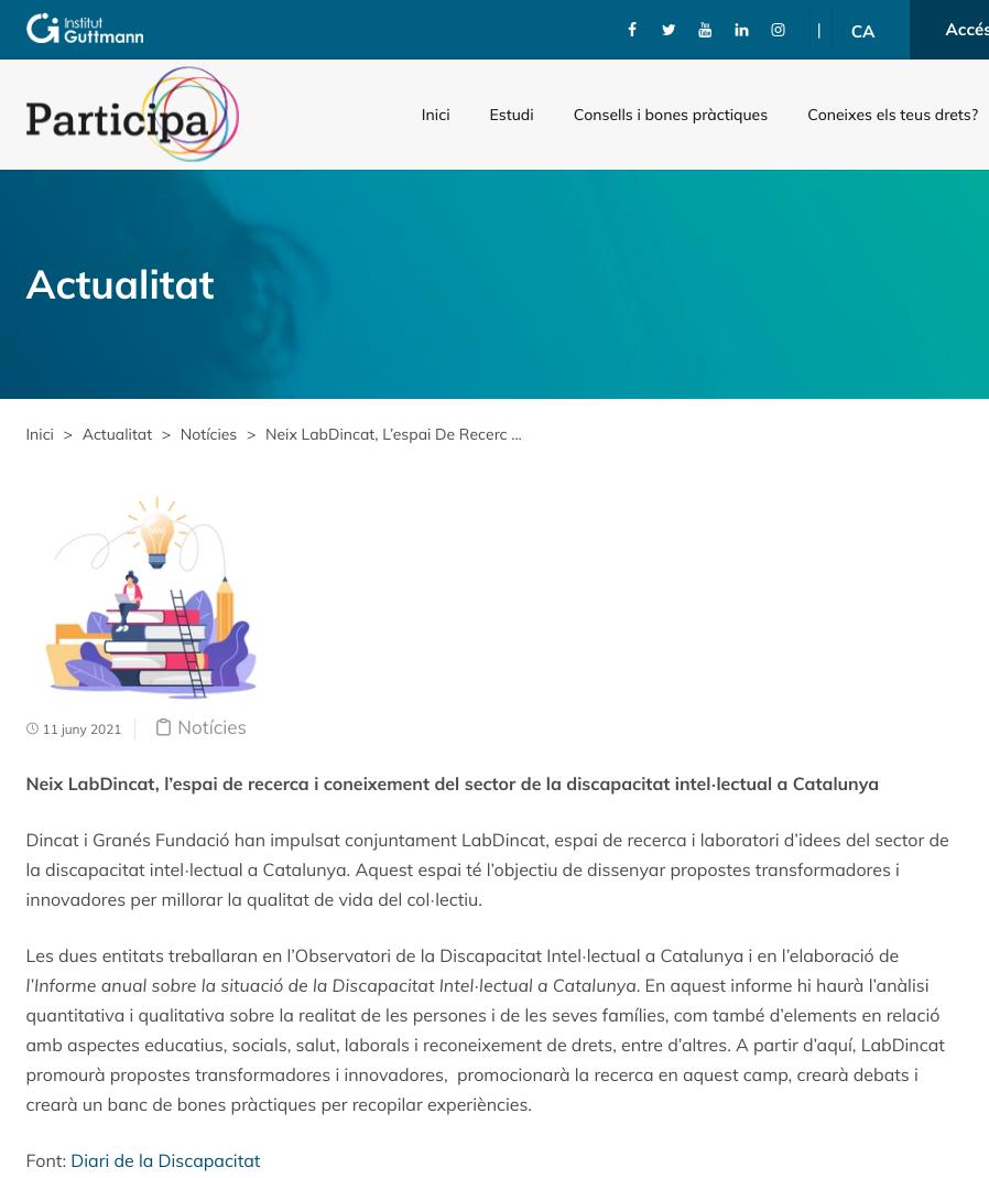 Neix LabDincat, L'espai De Recerca I Coneixement Del Sector De La Discapacitat Intel·lectual A Catalunya - Institut Guttman