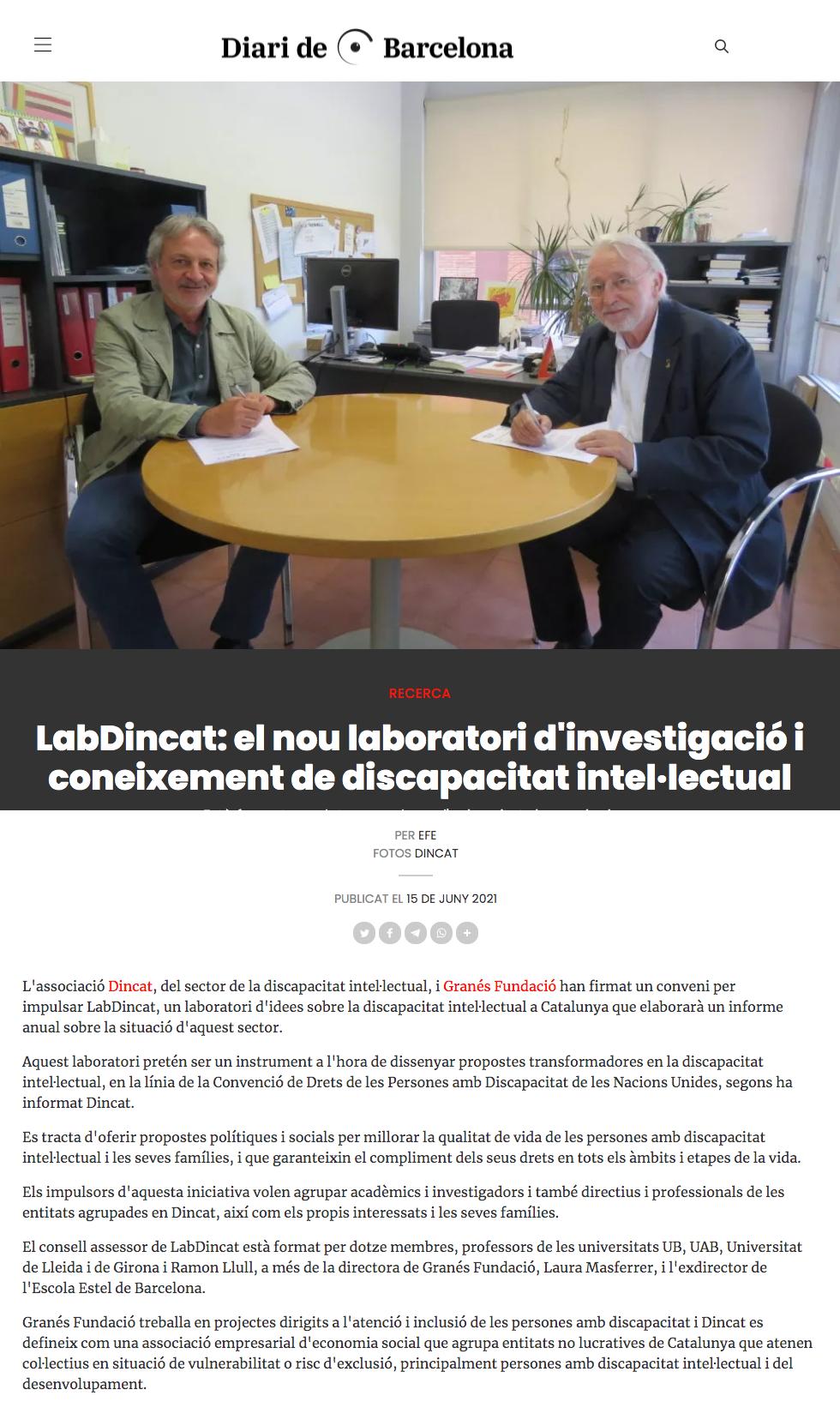 LabDincat: El Nou Laboratori D'investigació I Coneixement De Discapacitat Intel·lectual - Diari De Barcelona