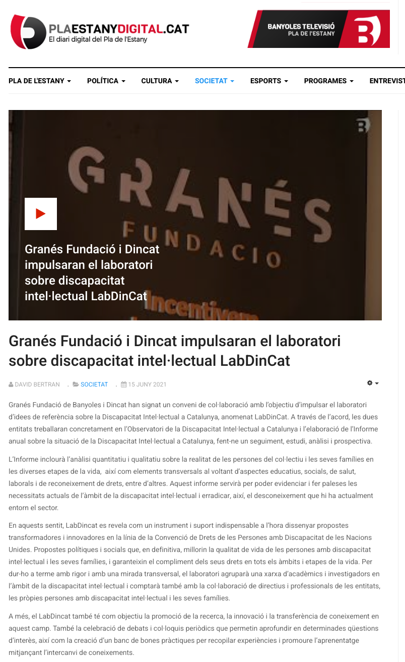 Granés Fundació I Dincat Impulsaran El Laboratori Sobre Discapacitat Intel·lectual LabDinCat - Notícia A Televisió De Banyoles