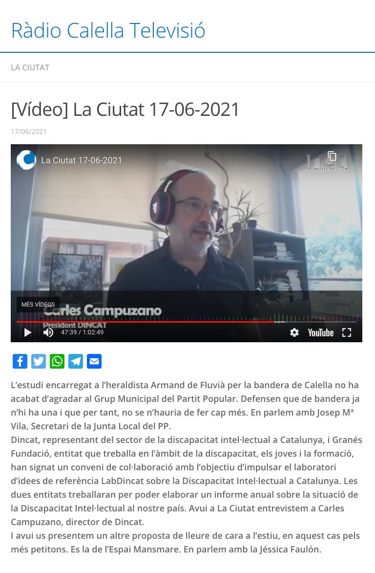 Entrevista President DINCAT- Ràdio Calella Televisió