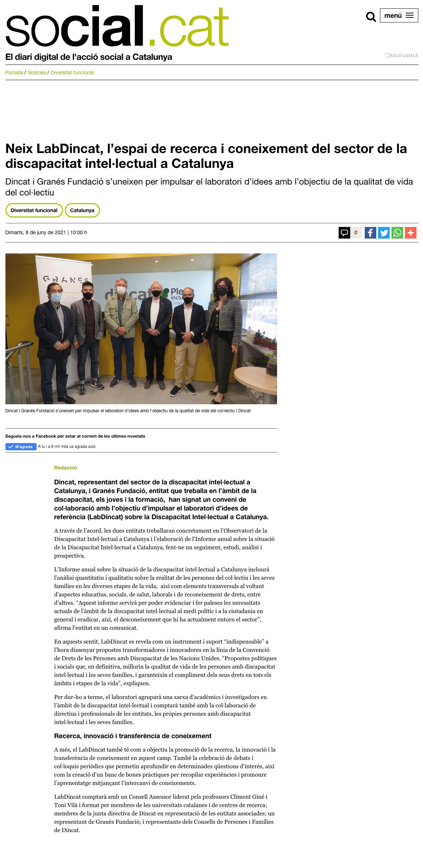 Neix LabDincat, L'espai De Recerca I Coneixement Del Sector De La Discapacitat Intel·lectual A Catalunya - Social.cat