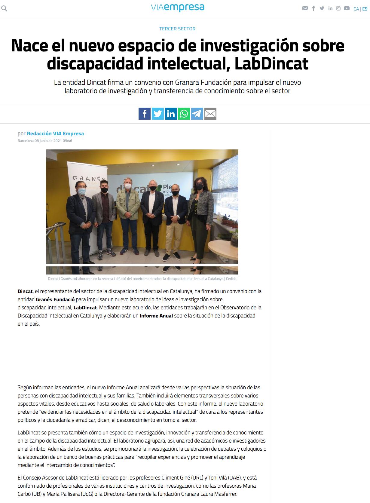 Nace El Nuevo Espacio De Investigación Sobre Discapacidad Intelectual, LabDincat - Via Empresa